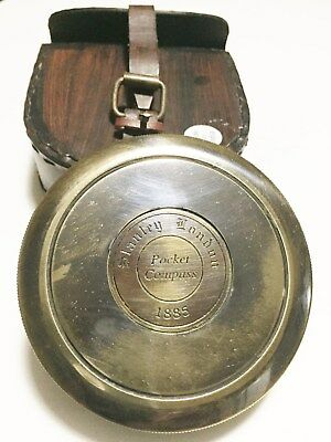 """Sale!!! 3"""" Stanley London Robert Frost poem Compass With Leather Pouch"""