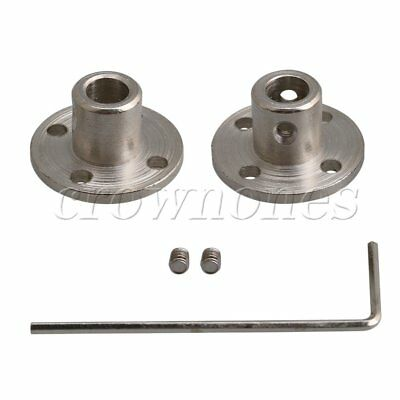 2Pieces 5-10mm Silver Steel Rigid Flange Coupling Joints with Accessory