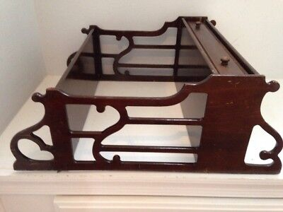 Antique 2 Tier Fretwork Knick Knack Wall Display Rack Shelf  With Drawer Butler