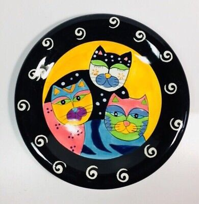 "Milson And Louis 8"" Colorful Cat Plate Hand Painted Cats Decor Collection~ EUC"