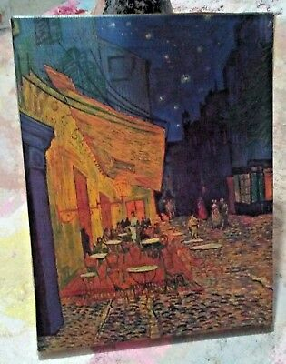 """Rare & Autographed Van Gogh Cafe Terrace at Night Framed Canvas 10""""x 8"""