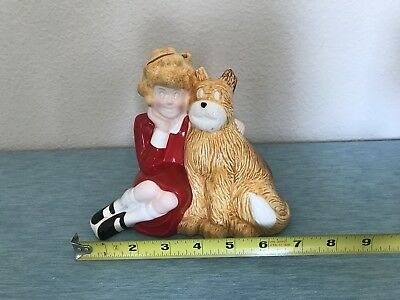 LITTLE ORPHAN ANNIE with SANDY (her dog) COIN BANK BY APPLAUSE 1982 FREE SHIP