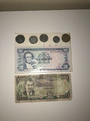 Vintage Bank Of Jamaica Jamaican  Dollar Currency Bill Money Circulated 1960