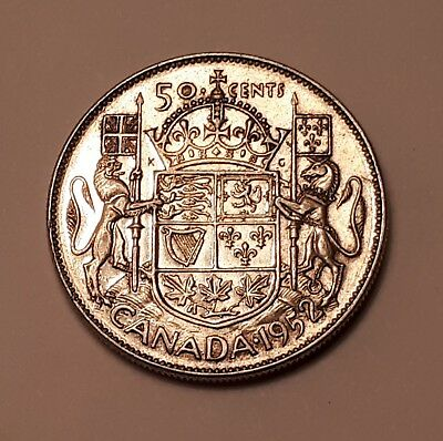 1952 Canada 50 Cents Coin (80% Silver) - King George VI