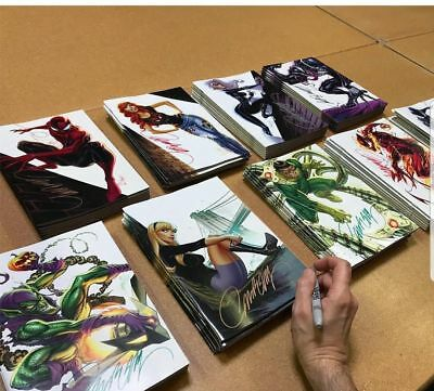 Signed AMAZING SPIDERMAN 800 SET of 9 SDCC 2018 J Scott Campbell VIRGIN VARIANT