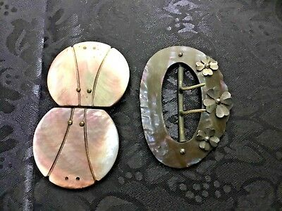 Victorian Mother of Pearl Buckles, 1 With Shamrocks, 2 Pieces Total Sweet