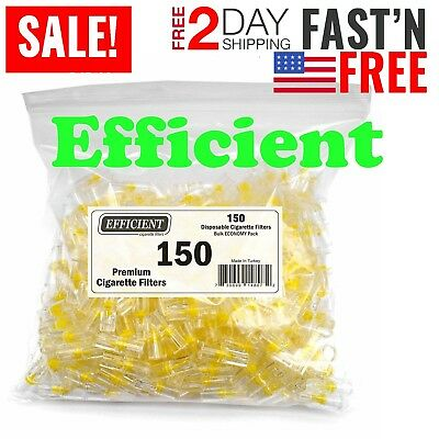 EFFICIENT Bulk Cigarette Filter Tips (150 Filters) Block, Filter Out Tar Nic