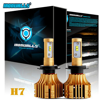 2x IRONWALLS CREE H7 1500W LED Headlight Kit Bulbs 6500K Lamp for Mercedes-Benz