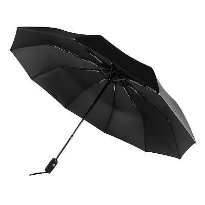 Automatic Umbrella Windproof Mens Black Compact Wide Auto Open Close Lightweight