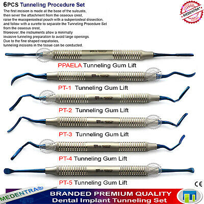 8PCS Implant Surgical Instruments Tunneling Procedure Periodontal kit Tissue Gum