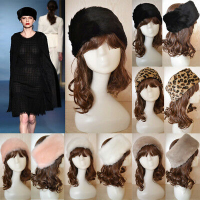 Winter Warm Women Russian Lady Rabbit Fur Knitted Cap Bea nie Fashion Hat Hipste