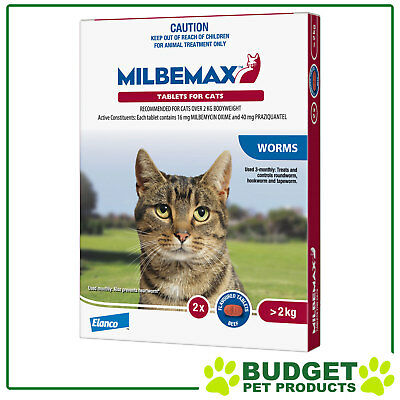 Milbemax Allwormer For Cats Over 2kg - 2, 4, 8 or 20 Tablets