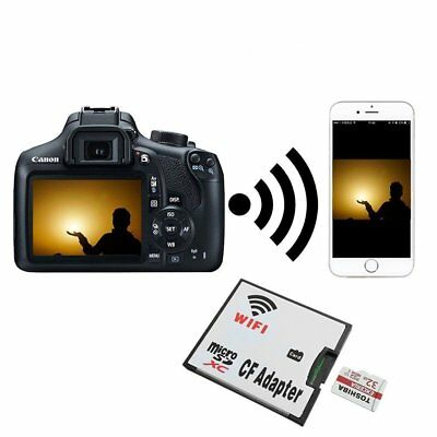 Micro SD Card TF to Wifi CF CompactFlash Memory Card Adapter for DSLR Camera