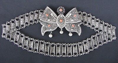 Old Silver Ottoman Filigree bride belt amber ethnic antique Balkan Jewelry