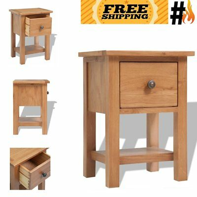 Solid Oak Nightstand Brown Bedside Table Chest Lamp Stand Bedroom Furniture Wood