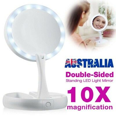 Double Side Makeup Mirror Magnifying Bathroom Mirror Beauty with LED Light AU