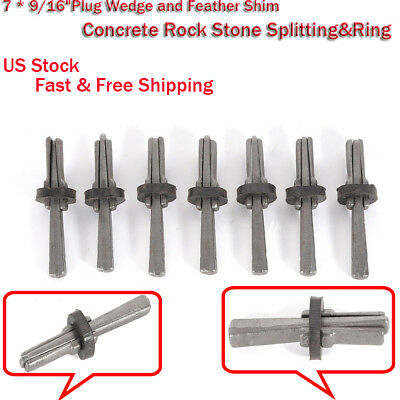 "7 * 9/16""Plug Wedge and Feather Shim Concrete Rock Stone Splitting&Ring US Stock"
