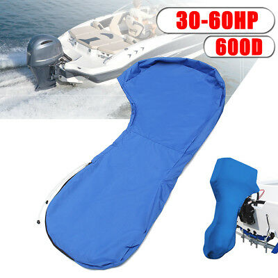 Blue 600D Boat Full Outboard Engine Cover For 30-60HP Motor Waterproof Dustproof