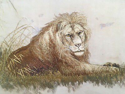 Antique Meiji Japanese Embroidered Silk Picture of a Lion, Embroidery