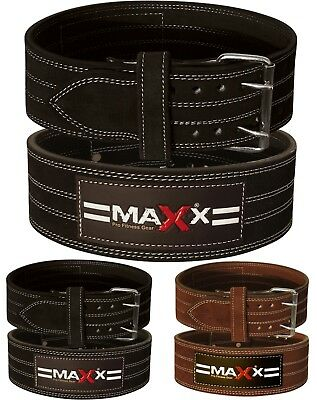 Maxx Leather Weight Lifting Belt Powerlifting Bodybuilding Gym Fitness Buckle