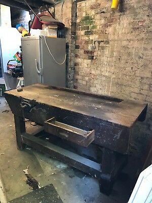 Old Work Bench Vintage Antique With Vice