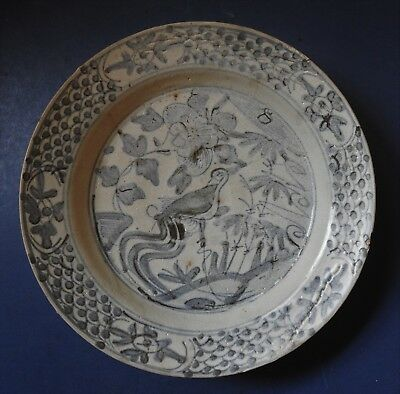 Chinese Ming Dynasty Swatow Blue & White Porcelain Dish - 16Th / 17Th Century