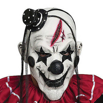 Scary Evil Clown Cosplay Halloween Party Mask Wig Hat Soft Rubber Latex Mask