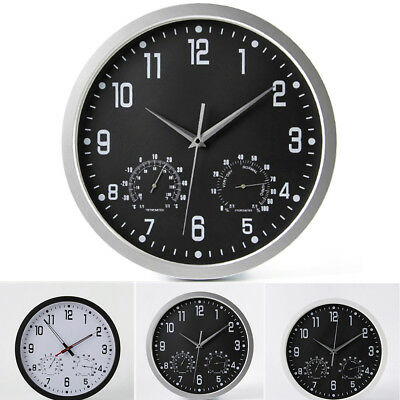 Living Home Office Wall Clock Round Vintage Clocks Temperature & Humidity Modern