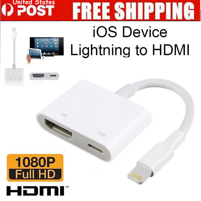 Lightning To HDMI Digital AV TV Cable Adapter For iPad iPhone X 8 7 6 Plus USA