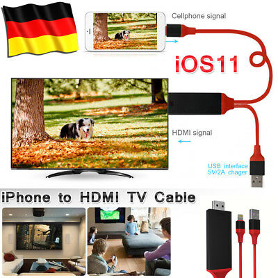 Lightning auf HDMI Adapter MHL Kabel 2M 1080P fr iPhone X 8 7 6s 6 Plus iOS 11.3