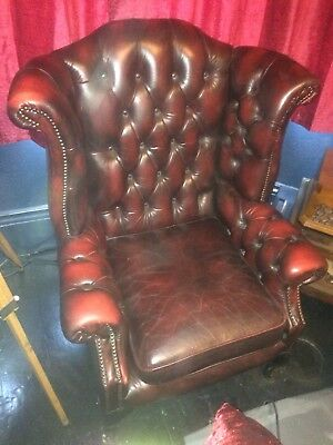 chesterfield Blood Ox Queen Ann Wing Back Chair