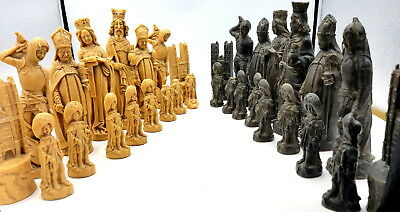 Rare Early 20th century Resin Gothic Chess Set in large size