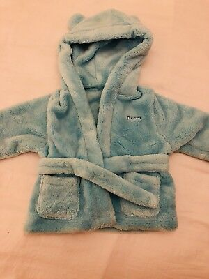 Fluffy Blue Baby Robe/Dressing GownPERSONALISED OSCAR size 0-6 Months