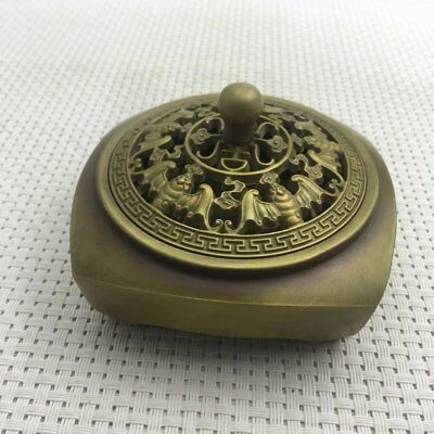 Chinese old brass  copper carving  bat hollow out incense burner censer d02