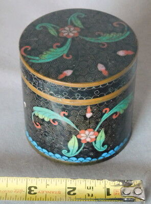 Antique Chinese Cloisonne Tea Caddy Box can canister copper bronze enamel jar