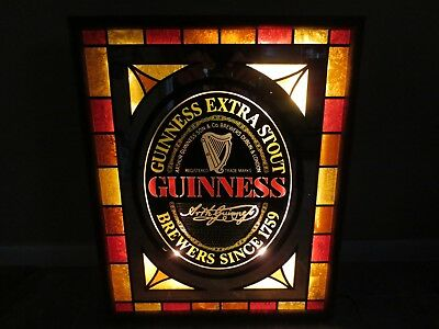 Vintage Guinness Extra Stout Beer Electric Lighted Sign Wood Frame Bar Decor