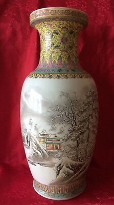Important Big Chinese Republic Mountain Poem Winter Vase Qianlong Mark