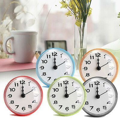 Suction Battery-powered Waterproof Wall Clock Watch Living Modern 4 Colors