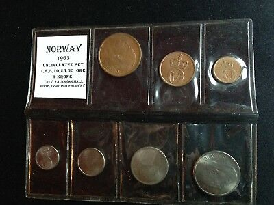 1963 Norway Uncirculated 7 Coin Set