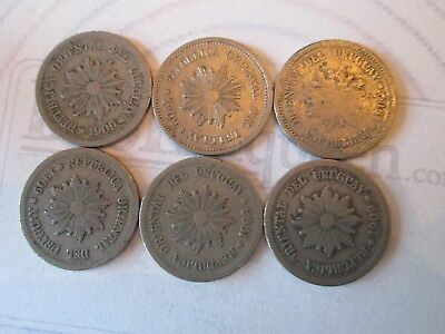 6 COIN SET: 2 CENTESIMOS! Vintage URUGUAY coins: dated 1909 NICKEL finish  IS203