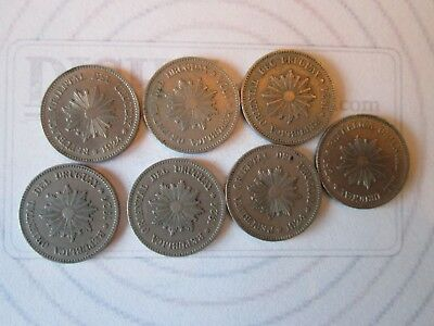 7 COIN SET: 2 CENTESIMOS! Vintage URUGUAY coins: dated 1924 NICKEL finish  IS204