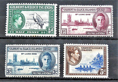 Gilbert And Ellice Islands Old British Colony 4 Stamps Georhe Vi Mint Hinged Mh*