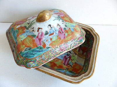 SUPERB ANTIQUE 19th CENTURY CHINESE CANTON PORCELAIN VEGETABLE TUREEN