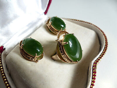 SUPERB and RARE 9K GOLD & JADE RING + EARRINGS SET