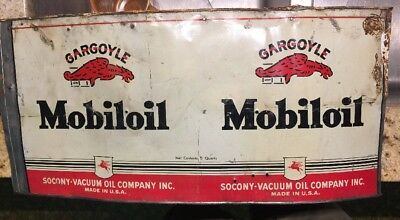 MOBILOIL CAN GARGOYLE VINTAGE RED SOCONY VACUUM  OIL CAN MOBIL GAS Sign Flatten