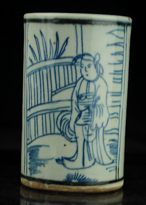 China old hand-made Blue and White porcelain Hand painted figure brush pot b02