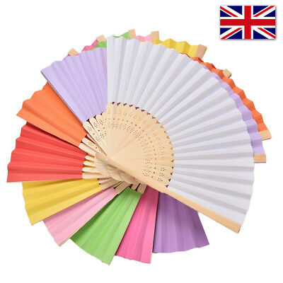 Summer Chinese Hand Paper Fans Pocket Folding Bamboo Fan Wedding Hand Fans