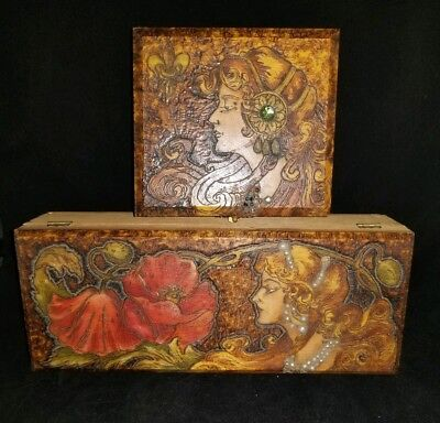Antique Art Nouveau Pyrography Box Set of 2 Victorian ☆AMAZING WORK☆