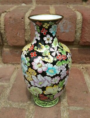 Antique Fine Chinese Canton Enamel Ware on Copper Vase Floral 19th Century Qing