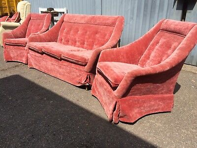Vintage Retro Original 60/70 's Sofa And 2 Chairs reupholstered wood legs